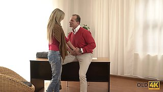 OLD4K. Naive young bimbo and older partner have nasty fun together