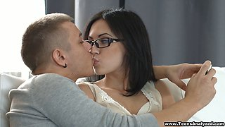 Seductive brunette in sexy glasses moans erotically while getting pounded hardcore