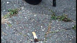 TAMIA PLATFORM HIGH HEELS SMOKING AND CRUSHES A CIGARETTE