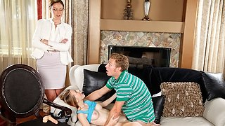 Stepmom fucking Ava with her strap on