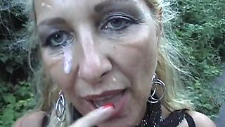 Pierced Blonde Mom Gets A Facial Outdoors