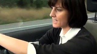 hot milf parks car and masturbates