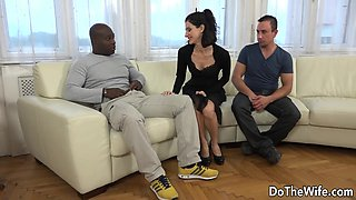 Swinger couple find a black guy and takes him their house