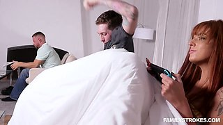 Ginger stepmom Scarlett Mae seduces stepson and fucks him in front of her husband