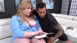 Fat blonde slut, Elisa Mae is wearing nothing but shoes with high heels while sucking and fucking