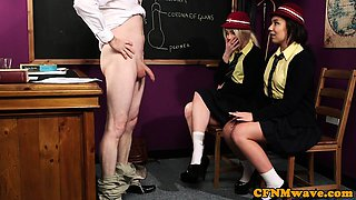 CFNM schoolgirls blowing teachers dick
