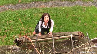 Piss loving girl in a short leather skirt fucks him in the barn