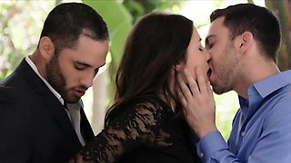 Brunette babe Adria Rae fucks two cocks in one shot