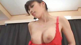Kinky hot Japanese maid gets her pussy fucked hard