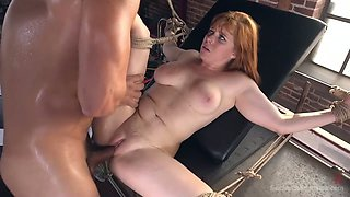 Brutal dude fucks tied up babe with ball gag Penny Pax and cums on her tummy