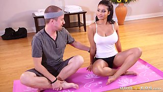 He interrupts her yoga to drive his cock into her from behind