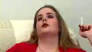 Smoking hot blonde chubby nympho exposes her really big melons