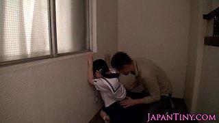 ### japanese schoolgirl gets oral
