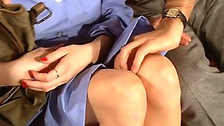 Two guys seducing German hot blonde chick for threesome