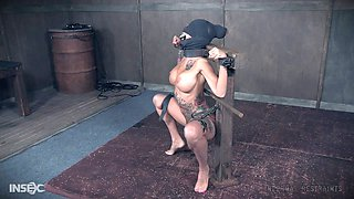 Bound slave bitch will do anything for her master