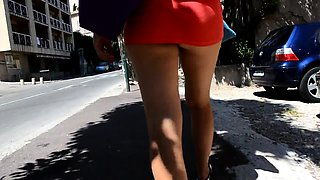 Hot amateur girl with sexy legs and a wonderful ass upskirt