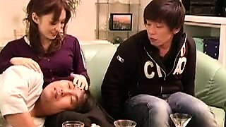 Horny Asian wife fucks a young cock while her husband sleeps