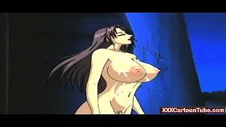 Anime tentacle monster fucks busty woman