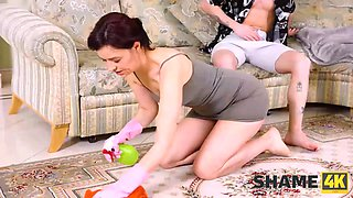 SHAME4K. Slender mature woman dragged into an unplanned affair with a friends son