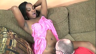 Tattooed ebony gal jumps on a cock after enjoying hot cunni