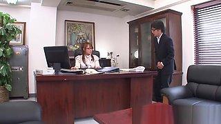 Japanese secretary masturbates at her desk