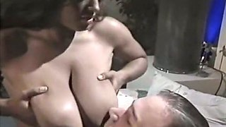 Filthy and hot busty brunette enjoys double penetration