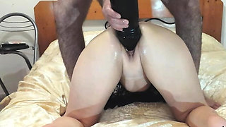 Gigantic dildo fucked and fisting amateur wife