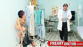 Emo teen Nina nasty vaginal enema at gyno fetish clinic