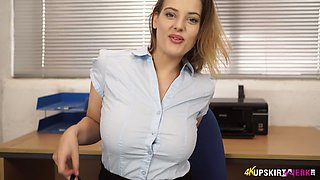 Office slut Lottii Rose spreads legs wide open and shows off pussy upskirt