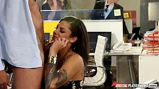 Boss and the office slut with tons of tattoos fucking at work