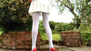 School uniform with white pantyhose