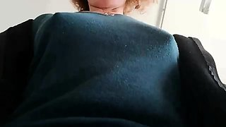 Sexy redhead milf flashes her tight pussy and hard nipples