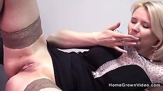 As cute as my secretary is, I couldnt resist slamming my cock deep inside that hairless snatch!