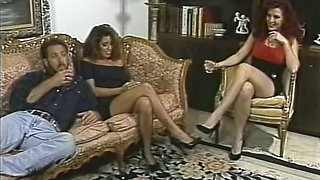Two hot babes fuck one horny man together in FFM threesome