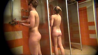 Spying on naked beauties in the shower room