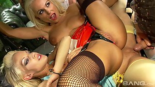 Three glamorous bitches in costumes get penetrated