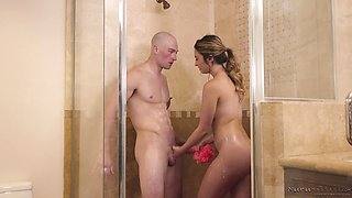 Horny wife sucks dick in the shower before he plows her hard