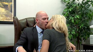 Naughty busty secretary Bridgette gets eaten by her boss