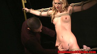 Restrained sub babe fucked and creamed