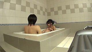Charming dark haired Asian babe Konoha gives blowjob and handjob in bath