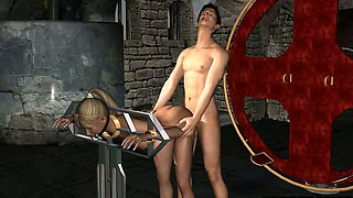 Foxy restrained 3D cartoon blonde babe gets fucked