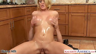Busty horny housewife Krissy Lynn wanna be nailed hard in the kitchen