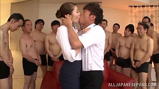 Breathtaking babes in pantyhose yelling while her hairy pussy is gangbanged doggystyle
