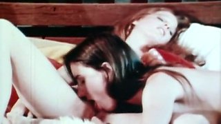 Two exquisite pale skin European girls eating each other