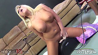 Lovely blonde rides on the long dildo