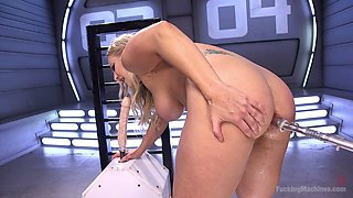 Skilled whore Angel Allwood is testing a new fucking machine