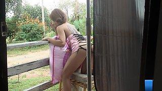 Ravishing Oriental goddess with big hooters Kate poses naked outside