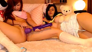 Two fascinating young lesbians have fun with a vibrator