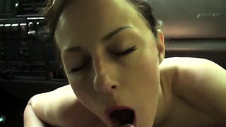 Stunning brunette milf with big tits blows a dick in the car