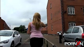 Nasty huge ass blonde Paige pissing by the road